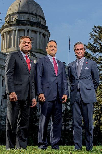 Kentucky in 2017 has had a record dollar amount of economic development project announcements, more than $8 billion, under the leadership of, from left, Vivek Sarin, executive officer for the Cabinet for Economic Development, Gov. Matt Bevin and Economic Development Cabinet Secretary Terry Gill.
