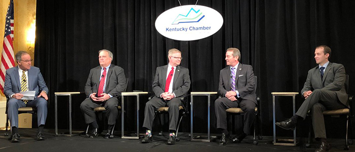 The panel at the Kentucky Chamber's 2018 Legislative Preview Conference.