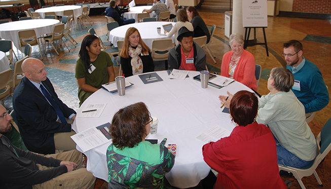 Participants discuss the relationship between business, local government and the arts during a workshop at the 2016 Kentucky Creative Industry Summit in Lexington.