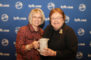 Jane Elam, right, of the Fayette County Farm Bureau Women's Committee, accepted the 2017 Gold Star Award of Excellence from Vicki Bryant, chair of the Kentucky Farm Bureau state Women's Committee.