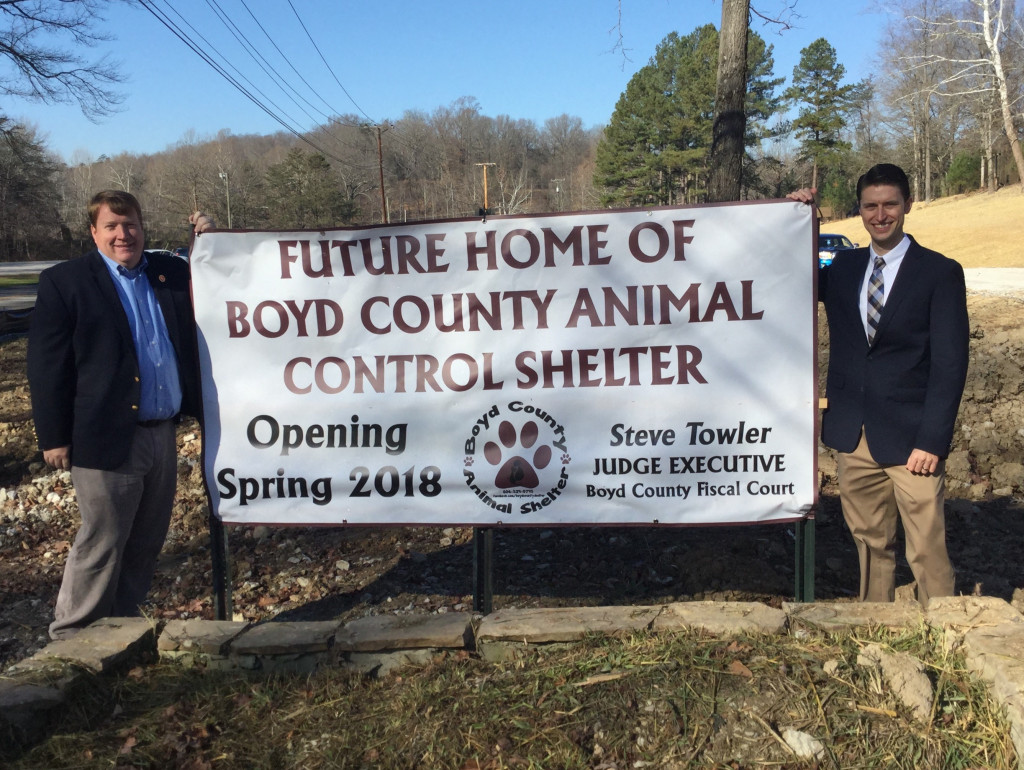 Kentucky Power President Matt Satterwhite, left, Business Operations Support Director Matt Horeled, right, participated Friday in a groundbreaking for a new Boyd County Animal Control Shelter. Kentucky Power donated 2.15 acres of land for the project.