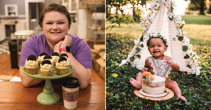"""Left: Bluegrass & Buttercream owner Shana Followell. Right: Followell's cake shop creates custom cakes for any occasion, including """"smash cakes"""" for babies. (Kat's Eye Photography)"""