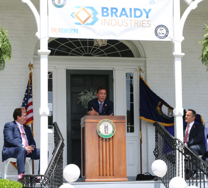Craig Bouchard, chairman and CEO of Braidy Industries, was joined Wednesday by Timm Gibbs with the Ashland Alliance, left, and Kentucky Gov. Matt Bevin in Greenup County to announce Braidy's plans to build a $1.3 billion aluminum rolling mill in South Shore.