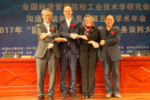 (From left) Professor Kwak Ro-Sung, Dongguk University, Korea; Professor Remigiusz Smolinkki, Leipziz Graduate School of Management, Germany; Robles; and Professor Zeng Xiaochun, legal representative and chairman of China Industrial Technology Association of Economic Management Colleges, Xi'an Jiaotong University, Xi'an, China.