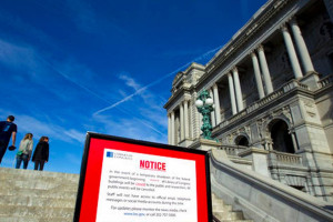 The Library of Congress posted a sign stating it is closed due to the government shut down. (Jose Luis Magana, AP Photo)