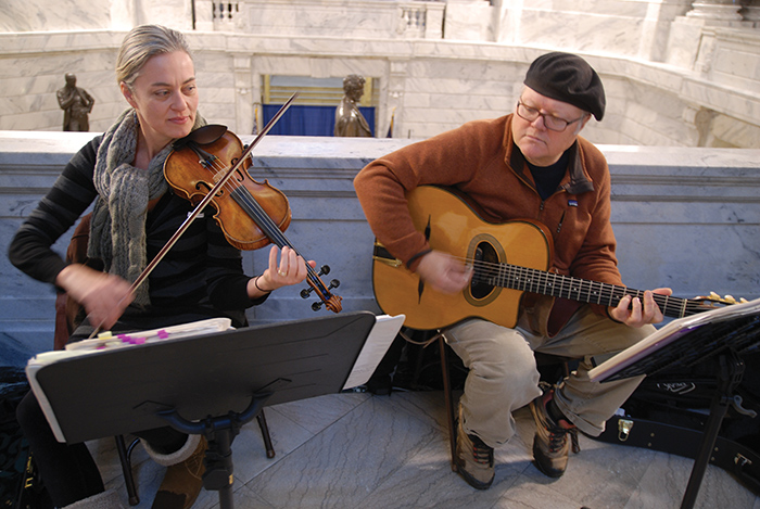Members of Stirfry Musette perform for visitors at the 2016 Arts Day in Kentucky Celebration  in the state Capitol in Frankfort.