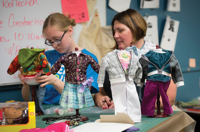 As part of last semester's Mayerson philanthropy project, a costume construction class in Northern Kentucky University's theater department made outfits for dolls to give away.