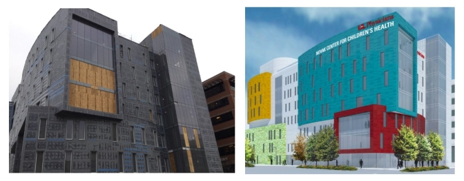 The Novak Center for Children's Health in its current state is shown at left; a rendering of the finished building is shown at right.