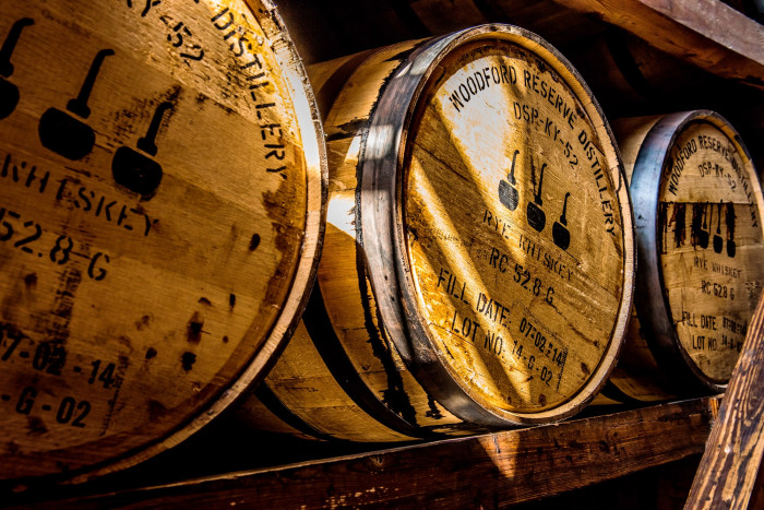 Whiskey barrels at the Woodford Reserve Distillery. (© Thomas Carr / Shutterstock)