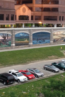 The Roebling Murals at the Covington Waterfront are a series of 18 panels depicting the history of Covington from 800 BC to the present day, painted on the flood wall along the Ohio River and visible from the Roebling Bridge.