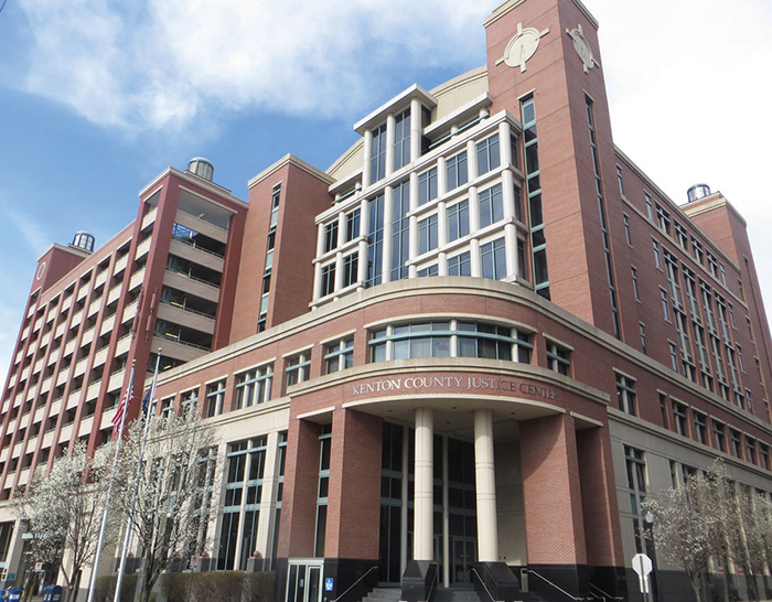 The modern Kenton County Justice Center in Covington houses Circuit, District and Family Court operations as well as the Circuit/District Clerk's office and many other related functions of the court system.