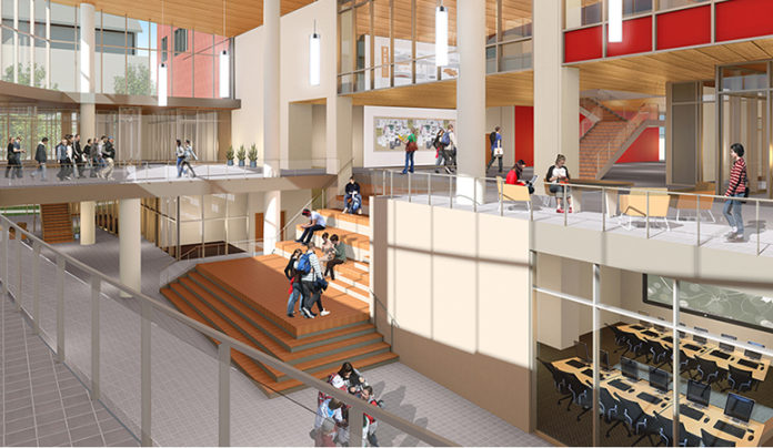 This Belknap Academic Building rendering shows the open spaces that encourage active learning.