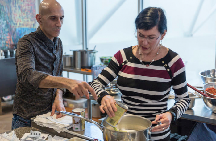 Chef Jehangir Mehta and psychological expert Rachel Herz competed at the International Society of Neurogastronomy's Gina Mullin Challenge. (Photo by Jim Morris)
