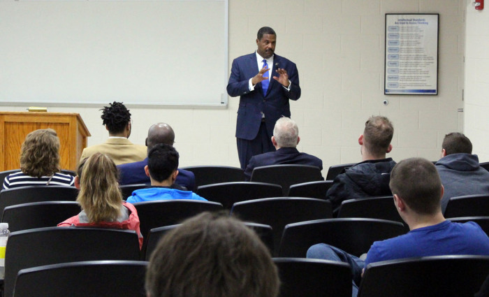 Emmanuel Bailey was on campus as part of the College of Business and Technology's Executive Speaker Series and the University's observance of Black History Month.