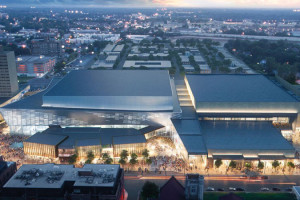 An artist's rendering view of the planned new Lexington Convention Center, looking south, after its $230 million renovation and expansion.