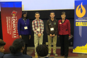CHS Tardy System, a team of freshmen from Carroll County Schools, won the UofL Product Innovation Award at this year's Entrepreneurial Challenge.