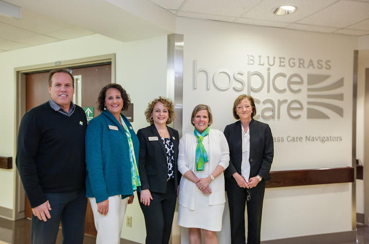 Members of the Bluegrass Care Navigators team prepare to celebrate the opening of their new inpatient hospice unit at UK HealthCare.