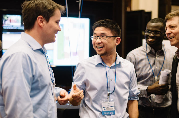 (Left to right): Bradley Irvin, Xin Gao, Reynolds Frimpong and Darrell Taulbee, with the UK Center for Applied Energy Research (CAER), attend the 2018 Patent Palooza.