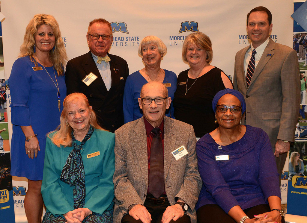 Pictured above in the front row, from left: Barb Niemeyer, Mark Minor and Peggy Overly. Back row, from left: Alicia Parker, Clyde James, Judy Yancy, Susette Redwine and Dr. Jay Morgan, MSU president.