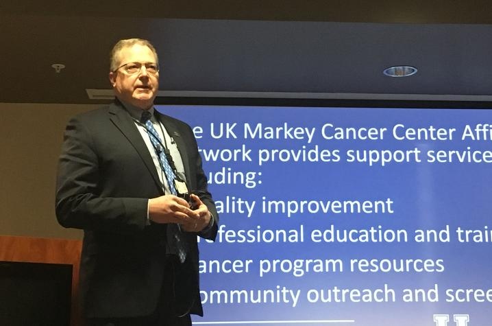 Dr. Tim Mullett, medical director of the MCCAN, speaks about the network to the Glasgow Chamber of Commerce meeting on Friday, April 20.